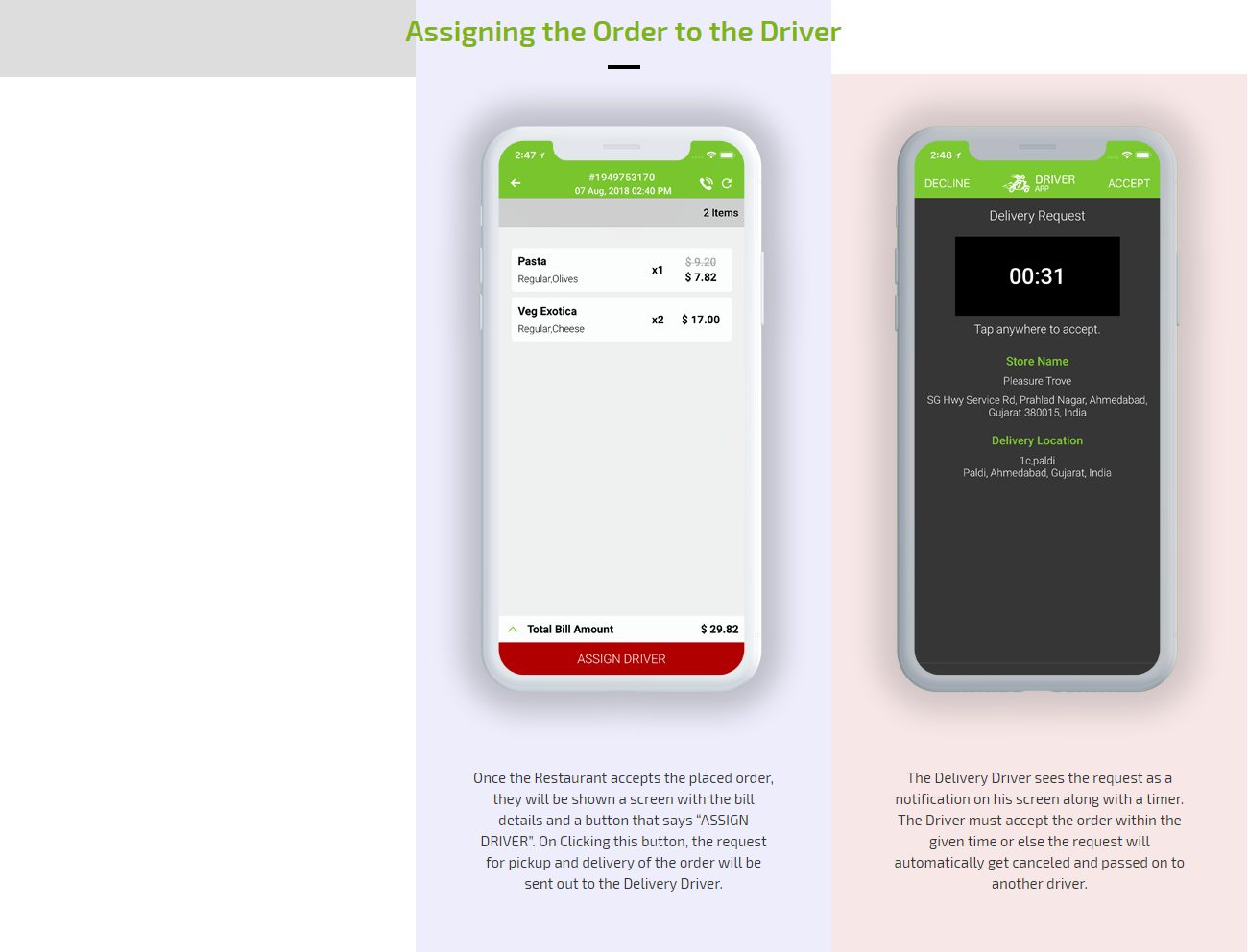 Assigning order to driver