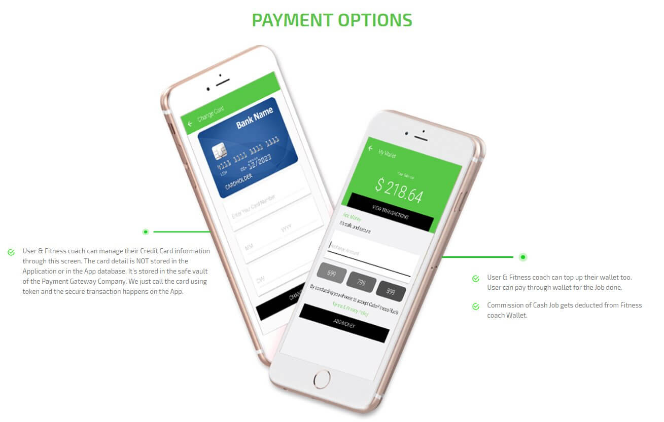 client and fitness-coach payment option screen