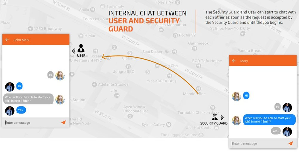 Internal chat feature in User and security guard app
