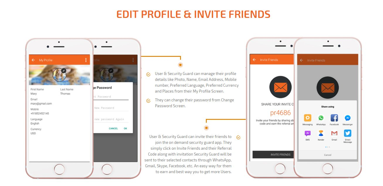 user and security guard edit profile and invite friends to join app