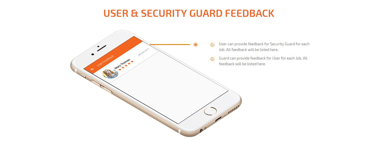 user and security guard feedback screen