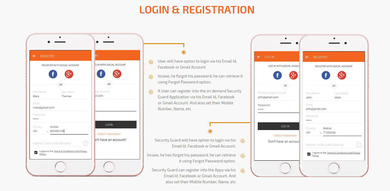 user and security guard login/registration screen