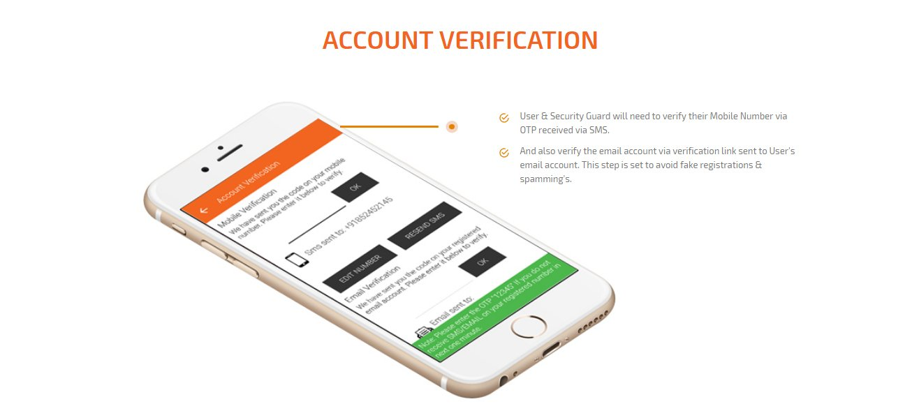 user and security guard account verification screen
